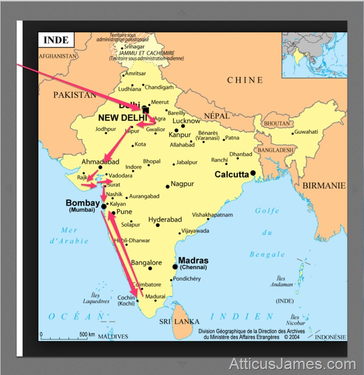 Map of 2016 India Trip with Atticus